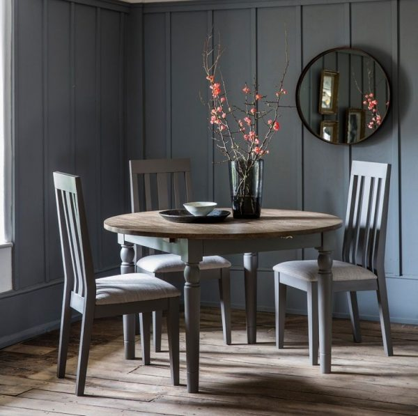 Gallery Cookham Grey Round Extending Dining Table and Chairs