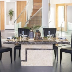 Get 2 Chairs Extra FREE with Venice Cream Marble 160cm Rectangular Dining Table - 4 Cadiz Black Chairs - Urban Deco