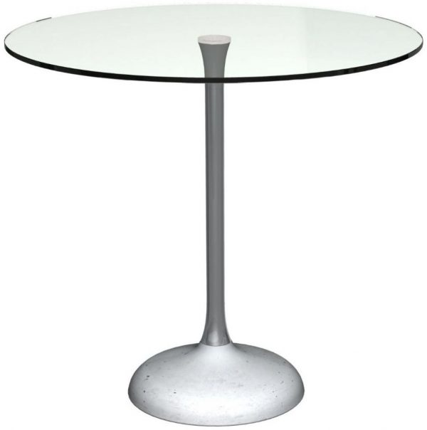 Gillmore Space Swan Clear Glass Top and Black Chrome Column 80cm Round Dining Table with Concrete Base