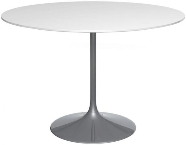 Gillmore Space Swan White Gloss Top Round 110cm Large Dining Table with Black Chrome Base