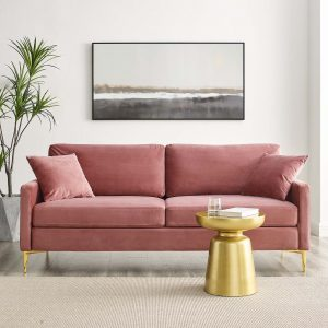 Juliana Performance Velvet Sofa in Dusty Rose