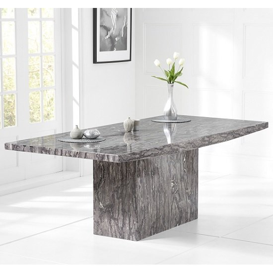 Kempton Marble Extra Large Dining Table Rectangular In Grey