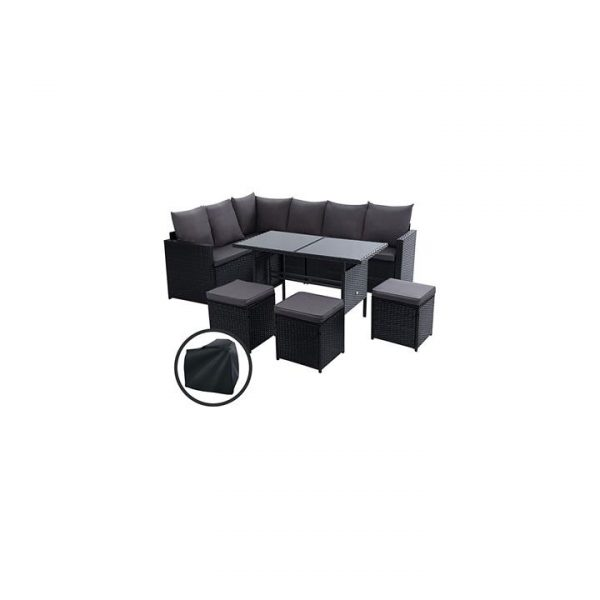 Kenway 9-Seater Outdoor Sofa Dining Set With Storage Cover, Black