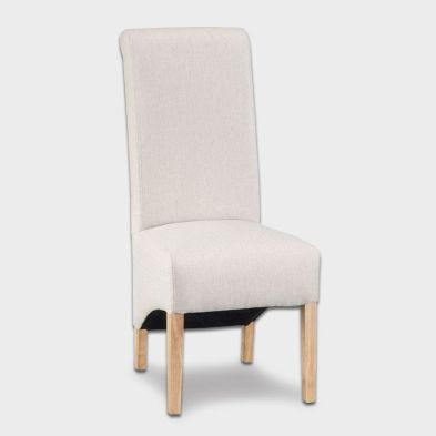 Lancelot Scroll Back Fabric Dining Chair Cappuccino