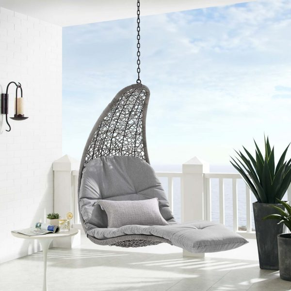 Landscape Outdoor Patio Hanging Chaise Lounge Outdoor Patio Swing Chair in Light Gray Gray