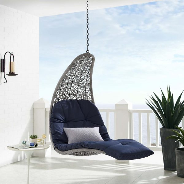 Landscape Outdoor Patio Hanging Chaise Lounge Outdoor Patio Swing Chair in Light Gray Navy