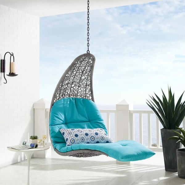 Landscape Outdoor Patio Hanging Chaise Lounge Outdoor Patio Swing Chair in Light Gray Turquoise