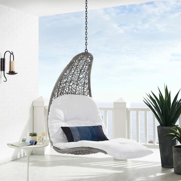 Landscape Outdoor Patio Hanging Chaise Lounge Outdoor Patio Swing Chair in Light Gray White