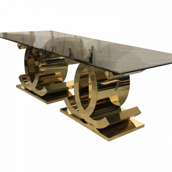 Lazio Glass & Stainless Steel Dining Table, 240cm