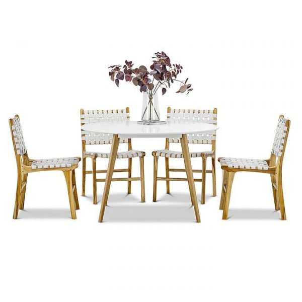 Line Lazie Woven Leather Dining Set, Round