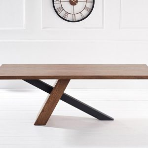 Mark Harris Montana Unusual Oak and Veneer 180cm Rectangular Dining Table with Black Stainless Steel Legs