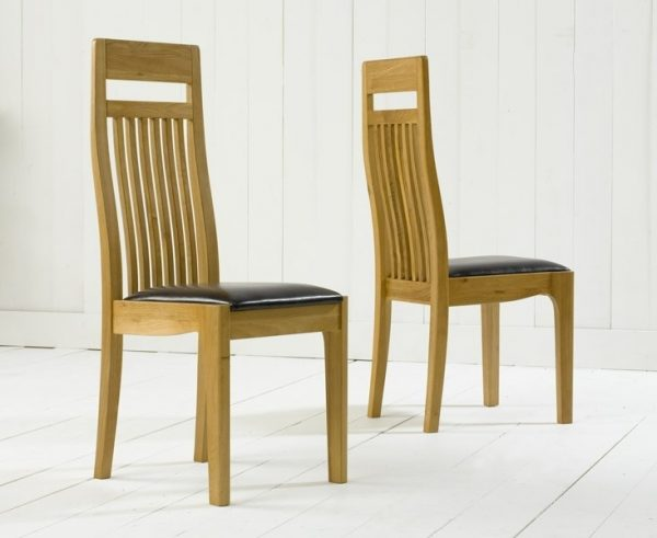 Mark Harris Monte Carlo Oak Dining Chair - Brown Leather Seat