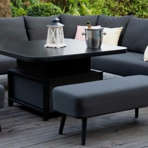 Maze Lounge Outdoor Ambition Charcoal Fabric Square Corner Dining Set with Rising Table