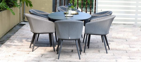 Maze Lounge Outdoor Ambition Flanelle Fabric 6 Seat Oval Dining Set