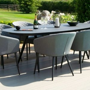 Maze Lounge Outdoor Ambition Flanelle Fabric 8 Seat Oval Dining Set