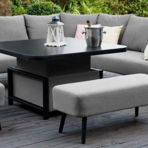 Maze Lounge Outdoor Ambition Flanelle Fabric Square Corner Dining Set with Rising Table