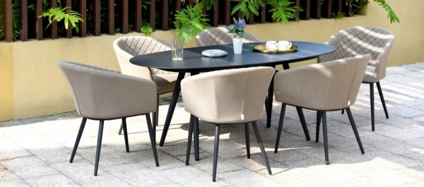 Maze Lounge Outdoor Ambition Taupe Fabric 6 Seat Oval Dining Set