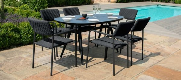 Maze Lounge Outdoor Bliss Charcoal Fabric 6 Seat Oval Dining Set