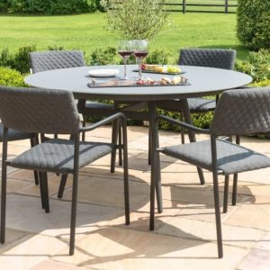 Maze Lounge Outdoor Bliss Flanelle Fabric 6 Seat Round Dining Set