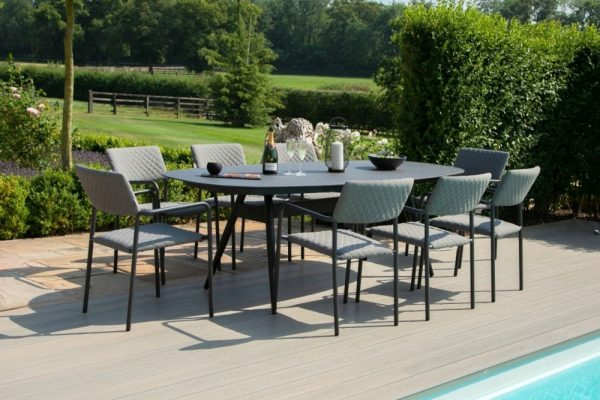 Maze Lounge Outdoor Bliss Flanelle Fabric 8 Seat Oval Dining Set