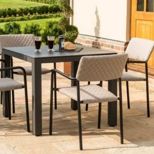 Maze Lounge Outdoor Bliss Taupe Fabric 4 Seat Square Dining Set