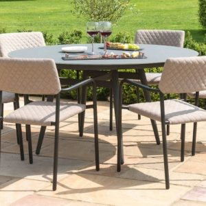 Maze Lounge Outdoor Bliss Taupe Fabric 6 Seat Round Dining Set