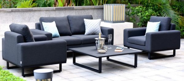 Maze Lounge Outdoor Ethos Charcoal Fabric 2 Seat Sofa Set with Coffee Table