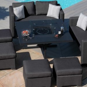 Maze Lounge Outdoor Fuzion Charcoal Fabric Cube Sofa Set with Fire Pit