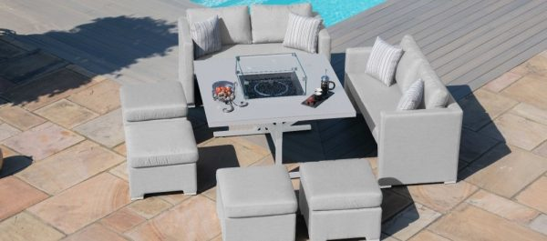 Maze Lounge Outdoor Fuzion Lead Chine Fabric Cube Sofa Set with Fire Pit