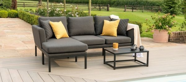 Maze Lounge Outdoor Pulse Charcoal Fabric Chaise Sofa Set