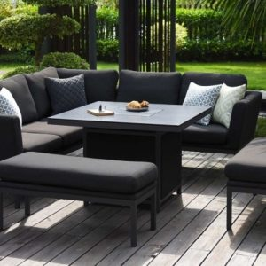 Maze Lounge Outdoor Pulse Charcoal Fabric Square Corner Dining Set with Fire Pit Table