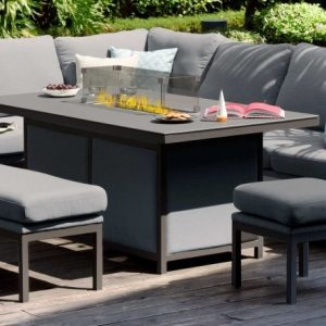 Maze Lounge Outdoor Pulse Flanelle Fabric Rectangular Corner Dining Set with Fire Pit Table