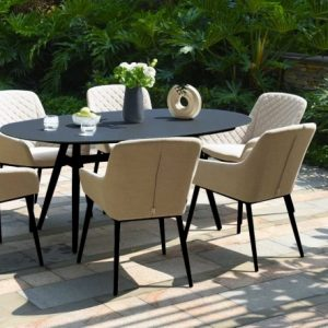 Maze Lounge Outdoor Zest Taupe Fabric 6 Seat Oval Dining Set