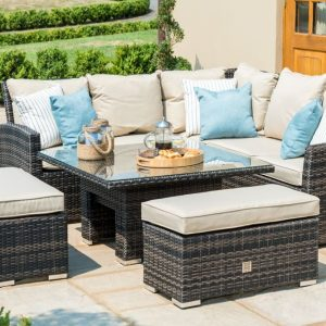 Maze Rattan Flat Weave Richmond Brown Corner Sofa Set with Rising Table