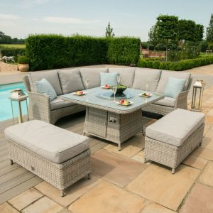 Maze Rattan Oxford Royal Corner Dining Sofa Set with Fire Pit Table
