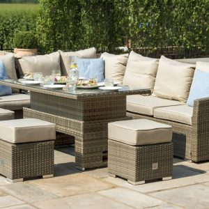 Maze Rattan Tuscany Natural Corner Sofa Dining Set with Rising Table