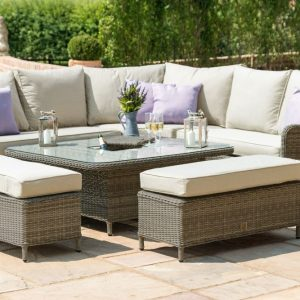 Maze Rattan Winchester Royal Corner Dining Sofa Set Rising Table