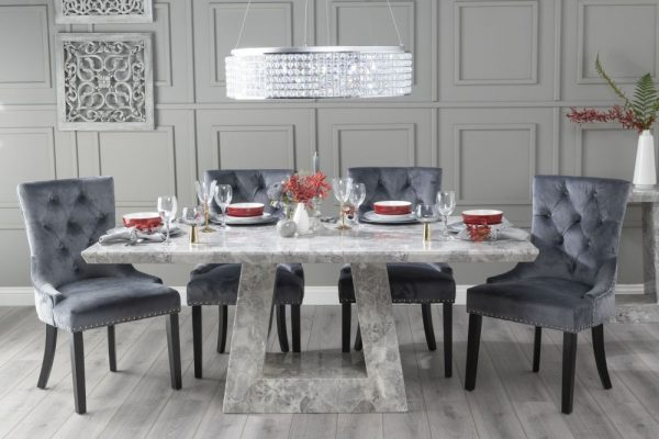 Mesilla 180cm Grey Marble Dining Table with 6 Grey Knockerback Chairs