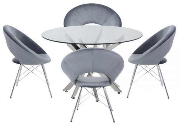 Nanty Round Dining Table and 4 Bayonne Grey Chairs - Glass and Chrome