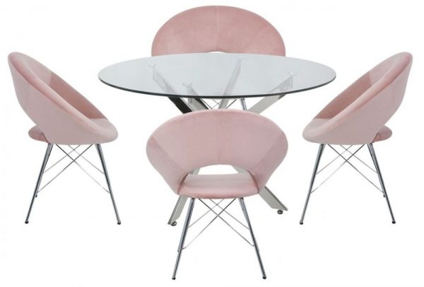 Nanty Round Dining Table and 4 Bayonne Pink Chairs - Glass and Chrome