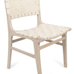 Numada Leather Weave Dining Chair in Ivory