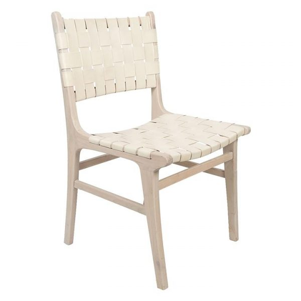 Numadu Leather Weave Dining Chair, Ivory