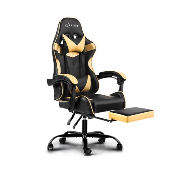 Office Chair Gaming Recliner Pu Leather Armrest Footrest Black Golden