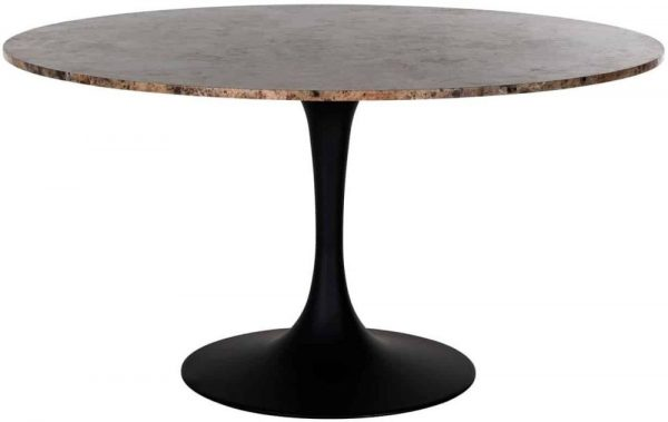Orion Brown Marble Round Dining Table - 140cm