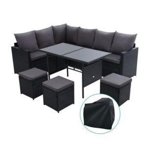 Outdoor Furniture Dining Sofa Set Wicker 9 Seater Storage Cover