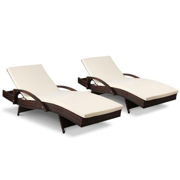 Outdoor Sun Lounge Chair with Cushion - Brown