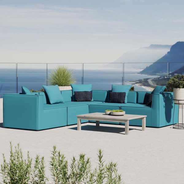 Saybrook Outdoor Patio Upholstered 5-Piece Sectional Sofa in Turquoise