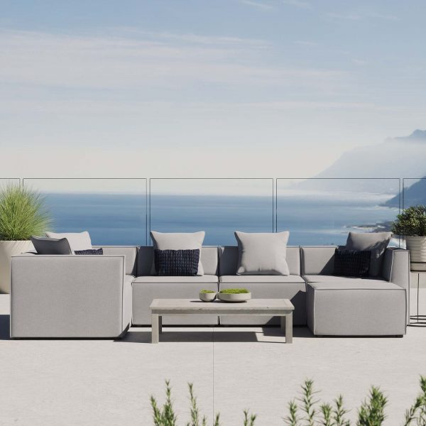 Saybrook Outdoor Patio Upholstered 6-Piece Sectional Sofa in Gray