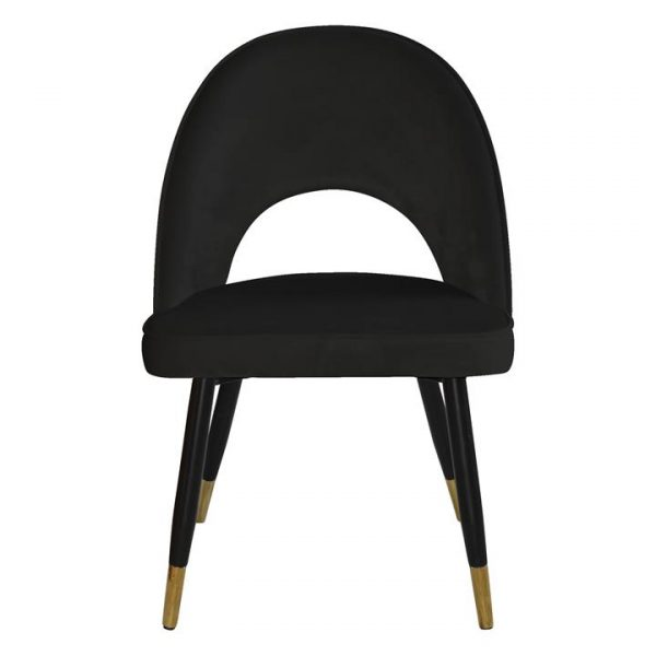 Scordia Velvet Fabric Dining Chair, Black