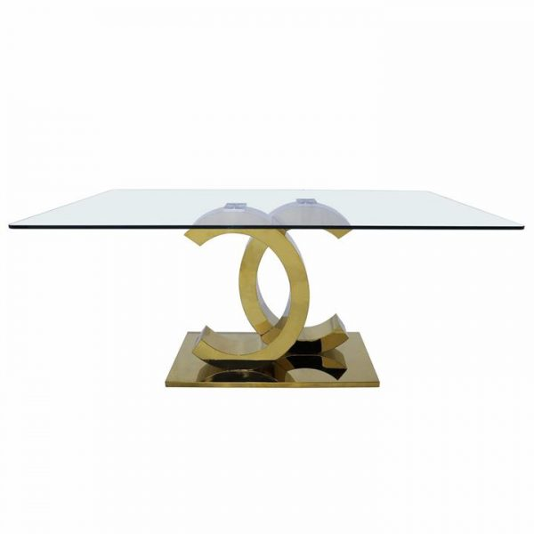 Sedini Glass & Stainless Steel Dining Table, 180cm